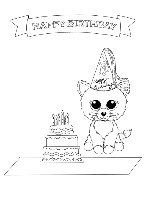 beanie boo birthday coloring page - Birthday Coloring Pages