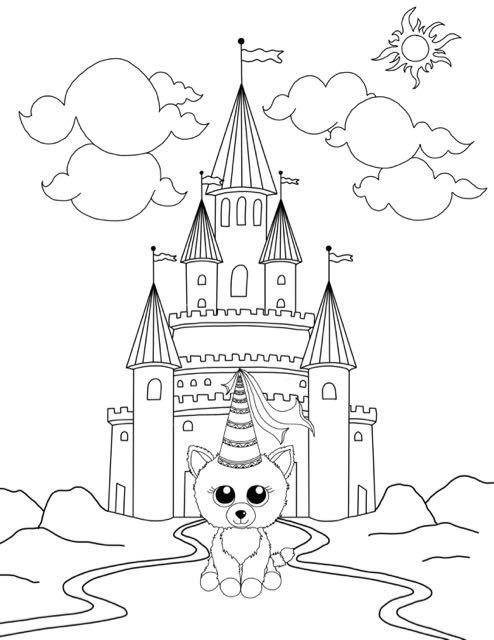 Beanie Boo Cat Princess Coloring Page
