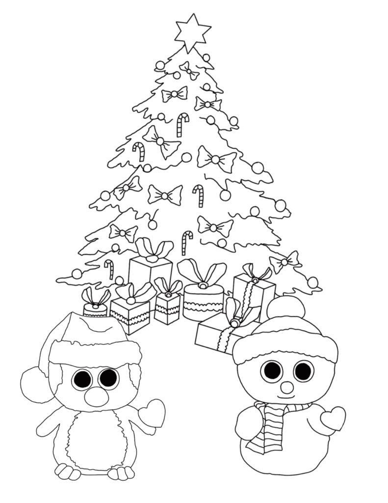 beanie boo christmas coloring page high resolution pdf for free download